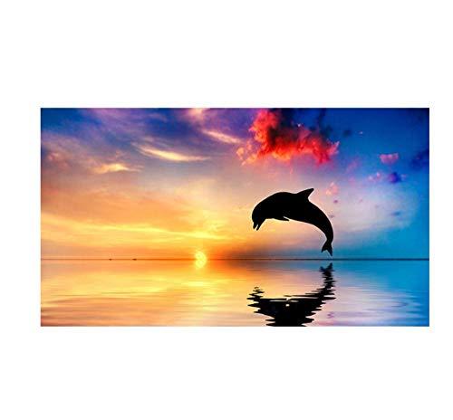 N/A Pintura DIY por números digital DIY pintura por números puesta de sol paisaje marino paisaje pintado a mano pintura al óleo lienzo para colorear decoración del hogar regalo 30*40cm (12*13 inches)