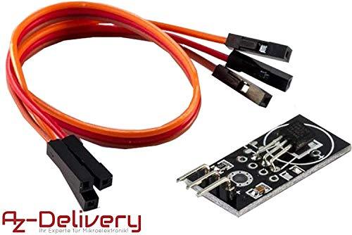 AZDelivery DS18B20 Breakout Modul mit Platine, Jumper Wire Kabel Temperatursensor Temperaturfühler für Arduino