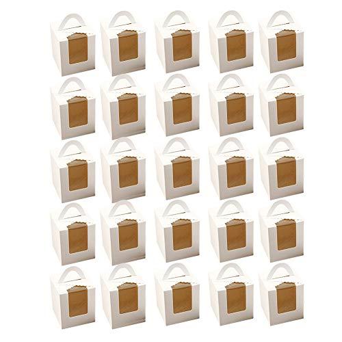 Caso De Papel Cajas De Galletas De La Magdalena Contenedores BolleríA PanaderíA Caja De Torta del Papel Embalaje De La Caja Torta Las Galletas De Navidad Magdalenas Caramelo (Blanco) 25pcs