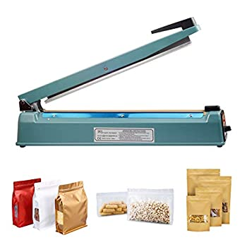 16 inch 400mm Impulse Sealer Manual Bag Sealer Heat Sealer Adjustable Timer Electric Heat Seal Bag Sealer Sealing Machine with 2 Free Replacement Kit Tabletop Impulse Sealer Blue