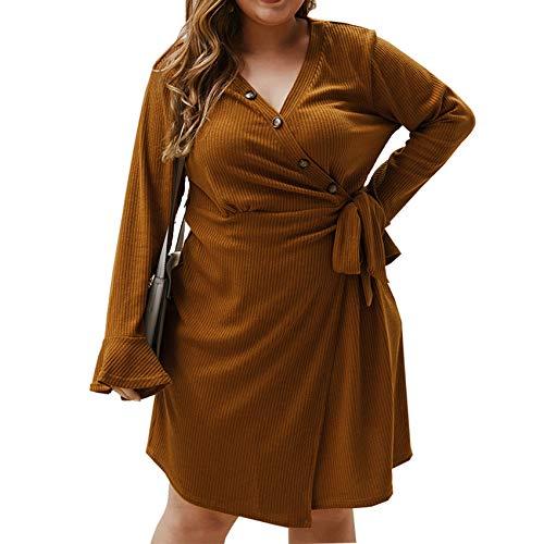 2YD8WH6 Herbst Und Winter Plus Size Kleid V-Ausschnitt Sexy Kleid