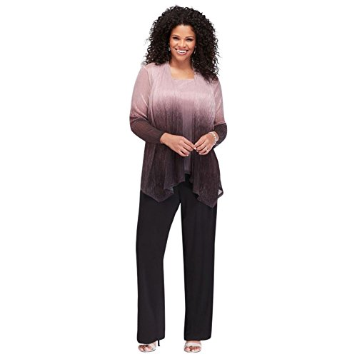 David's Bridal Crinkled Ombre Plus Size Three-Piece Pantsuit Style 950136, Black, 18W