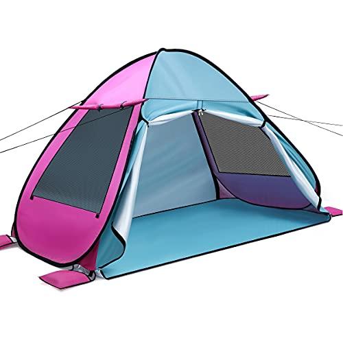 Tenda Istantanea Pop-Up Privato Portabile per Campeggio Spiaggia Bagno Spogliatoio Doccia Riparo (Blu+Rosa)
