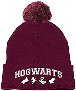 HARRY POTTER Hogwarts Pompom Beanie Cuffia, Rosso (Maroon Red), Unica (Taglia Produttore: OS) Unisex-Adulto
