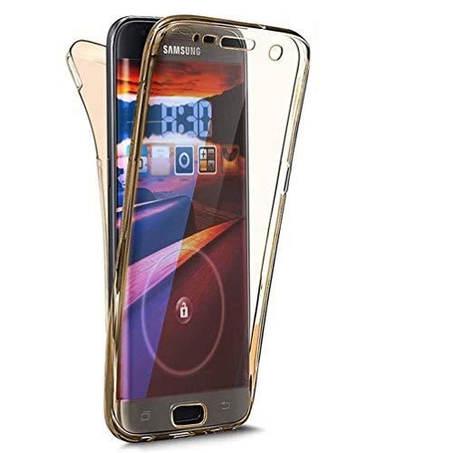 Homikon 360 Grad Fullbody Siliko Hülle Durchsichtige Handyhülle Ganzkörper-Koffer Komplettschutz Schutzhülle Vorne & Hinten Rundum Case Cover Tasche Kompatibel mit Samsung Galaxy J1 2016 - Gold