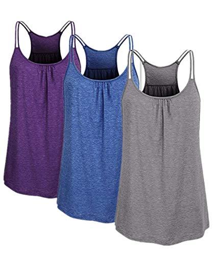 TUDUZ 3er Damen Große Größe Camisole Rundhals Falten T-Shirt Weste Bluse Ärmellos Stretch Tunika Top(Medium,Lila/Dunkelblau/Grau)