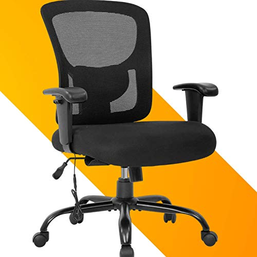 Big and Tall Office Mesh Back Chair, 400lbs Adjustable Ergonomic High Back Desk Chair with Massage Mesh Support Wide Seat & Adjust Arms, Rolling Swivel Computer Task Chair for Adults Kids Teens,Black