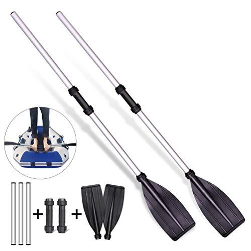 Nargut 2 palas telescópicas de aleación de aluminio de agarre redondo para barco, kayak, balsa desmontable, mini pala telescópica