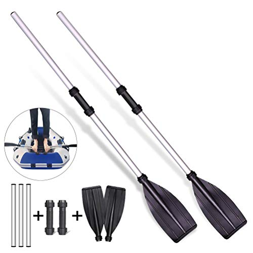 Nargut 2 paletas telescópicas de aleación de aluminio con agarre redondo para barco kayak balsa desmontable pala telescópica mini