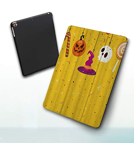 iPad 5./6. Generation shell,iPad 9.7 2018/2017,Cartoon Girl Retro Cute Kid Roam Ginkgo Fallen Leaves Autumn Nature, Double-fold Stand with Shockproof TPU Back Cover, Auto Wake/Sleep