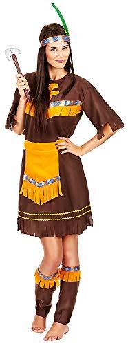 KIRALOVE Costume Indiana - Nativo Americana - Travestimenti Donna - Halloween - Carnevale - Etnico - Colore Marrone - Adulti - Ragazza - Taglia Unica - Idea Regalo Originale