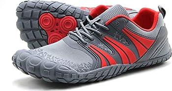 Oranginer Men s Barefoot Running Shoes Minimalist Big Toe Box Zero Drop Shoes for Men Gray/Red Size 11
