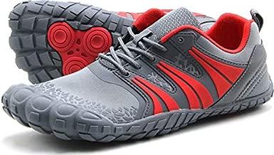Oranginer Men's Barefoot Running Shoes Minimalist Big Toe Box Zero Drop Shoes for Men Gray/Red Size 11