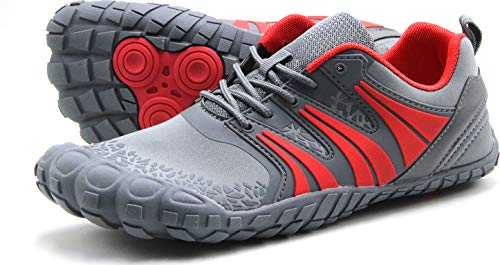 Oranginer Men's Flexbile Barefoot Inspired Running Shoes Comfortable Wide Toe Box Minimalist Shoes Breathable Outdoot Workout Shoes Cushioning Trail Running Sneakers Gray/Red Size 12