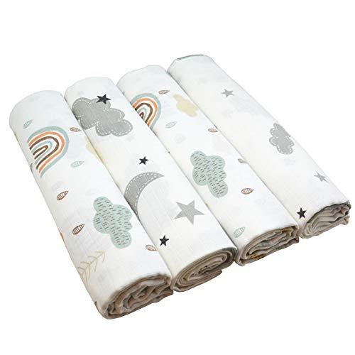 Wolken Mullwindeln 120x120 cm | 4 Stück Unisex Saugfähige Mulltücher Pucktücher Spucktücher Baby Stoffwindeln | Öko-Tex (2 grün, 2 grau, 120x120 cm)