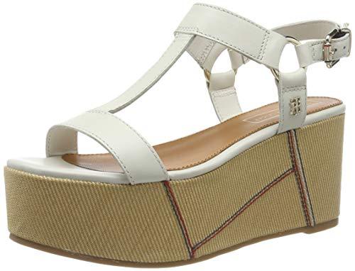 Tommy Hilfiger Damen Elevated Leather Flatform Sandal Plateausandalen, Weiß (Whisper White 121), 41 EU