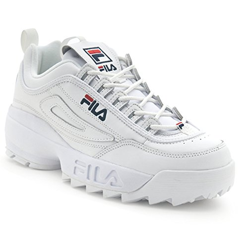 Fila Youth Disruptor II Sneaker,White/Navy/Red,7 M US Big Kid