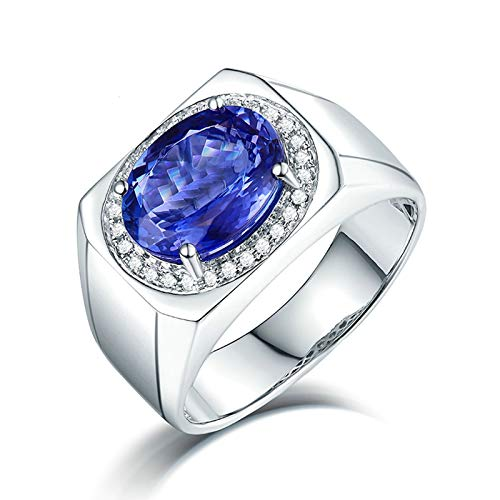 Aartoil Hombre oro blanco 18 quilates (750) ovalada Blue White Tanzanite Diamond
