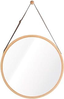 Colgado Redondo Espejos de baño para Pared Maquillaje Cosmético Marco de bambú Habitación Aparadores Entrada Pasillo Corre...
