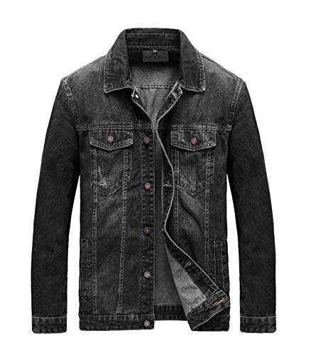 JYG Men's Casual Button Down Denim Jacket Classic Trucker Jean Coat (Black-7536, X-Large)