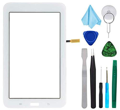 Tefir Bianco Touch Repair Glass per Samsung Galaxy Tab 3 Lite 7.0 T110 SM-T110 (No LCD) con Adesivo e Strumenti