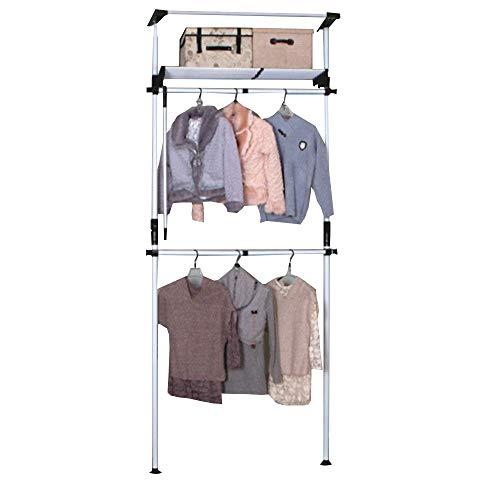 JIAYING Verstellbares Ordnungssystem,Teleskop-Kleiderständer, Kleiderstangen Teleskop Garderobensystem,Beinhaltet 2 Kleiderstangen & 1 Ablagefach zur Aufbewahrung