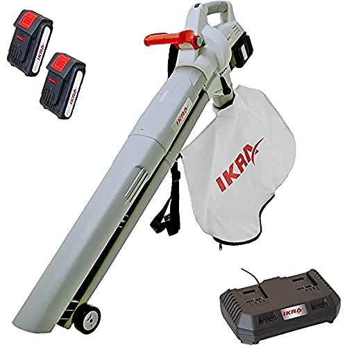 IKRA 3en1 Aspirador soplador triturador a batería ICBV 2/20, Incl. 2X batería y Doble Cargador rápido