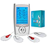 Easy@Home Rechargeable TENS Unit + EMS Muscle Stimulator, 2 Independent Channels, 20 Intensity Levels, 8 Massage Types+16 Modes, 510K Cleared FSA Eligible Handheld Electronic Pulse Massager, EHE029G-B