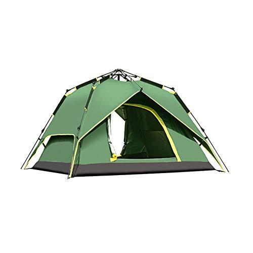 MENG Campingzelt, 3-4 Personen Pneumatisches Quadratisches Automatikzelt Winddicht Und Wasserdicht Sehr Gut Geeignet Für Camping-Wanderrucksäcke Und Bergsteigen Im Freien,Army Green