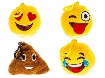 Emoji Universe  Talking Emoji Backpack Clips Keychains  Plush Keychain Makes FUNNY SOUNDS!  4-Pack