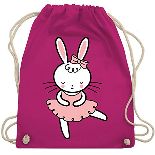 Shirtracer Tiermotive Kind - Ballerina Hase - Unisize - Fuchsia - turnbeutel ballerina - WM110 - Turnbeutel und Stoffbeutel aus Baumwolle