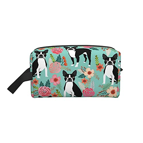 Bolsa de maquillaje Boston Terrier Sweet Spring Dog Bolsa de viaje cosmética Bolsa de aseo grande Organizador de bolsa de maquillaje portátil