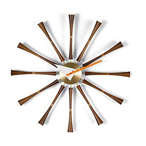 Jxcock Nelson Axe Classique CréAtif Pendule Murale Noyer + Support en Aluminium Quartz Silencieux Horloges Murales Moderne Nordique Design Unique pour Bureau Maison Mur DéCoratif - 50Cm