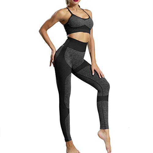 Conjunto De Ropa De Yoga Pantalones de Yoga Elásticos Deportivo Leggings y Sujetadores Deportivos para Gimnasio Running Yoga (Negro (Traje), S)