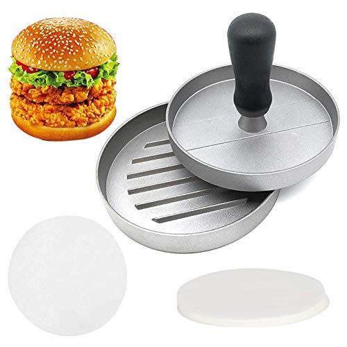 XYDZ Pressa per Hamburger Pressa Stampa in Alluminio + 50 Carta Antiaderente, Hamburger Patty Maker per Omelette/Carne/Hamburger