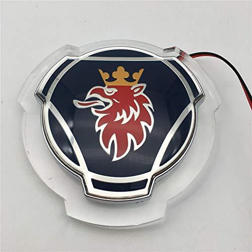 1 STÜCK für Scania Griffin Abzeichen Beleuchtetes Emblem der neuen Generation von Scania 80mm ABS Logo Front Front Pickup Logo Abzeichen mit LED-Weißlicht-Emblem (Blue)