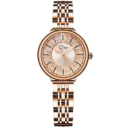 RORIOS Mujer Relojes Impermeable Analógicos Cuarzo Reloj con Correa en Acero Inoxidable Moda Cristal Reloj de Pulsera para Mujeres Chica