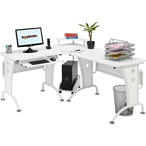 Piranha Großer Computerecktisch für das Home Office Weiss PC21s