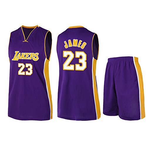 CBVB Basketballanzüge, James, Lakers 23 Trainingsanzug, Erwachsene und Kinder, Stickoberteile Basketballanzug, Loyal Fan, anpassbar-Purple-L