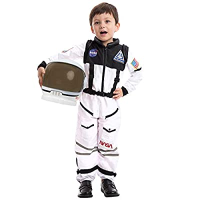 Astronaut NASA Pilot Costume with Movable Visor Helmet for Kids, Boys, Girls, Toddlers Space Pretend Role Play Dress Up, School Classroom Stage Performance, Halloween Party Favor (XLarge (12-14yr))