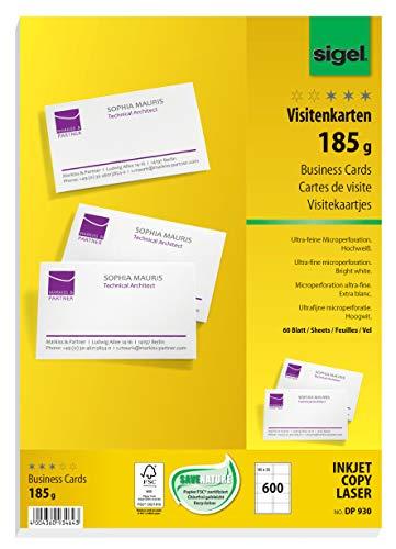 SIGEL DP930 Visitenkarten hochweiß, 600 Stück (60 Blatt), 185 g, 85x55 mm - weitere Stückzahlen