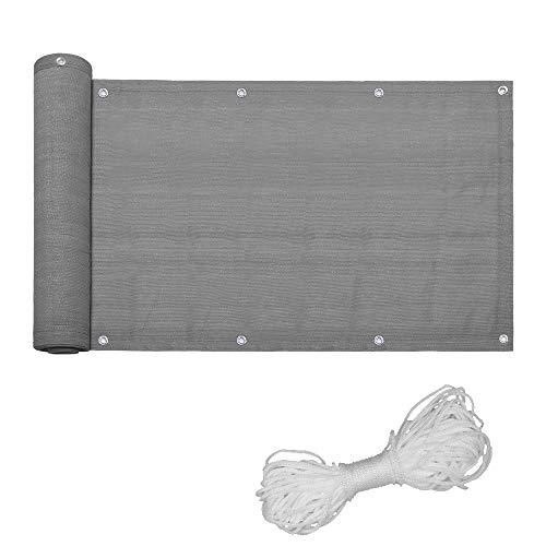 HENGMEI Balkon Sichtschutz Balkonbespannung Balkonverkleidung, Balkonsichtschutz Windschutz UV-Schutz Blickdicht aus HDPE (Grau,75x600cm)