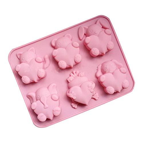 mxdmai Stampo in Silicone a Forma di Animale in Silicone Fondente per Biscotti Stampo per Dolci - Rosa