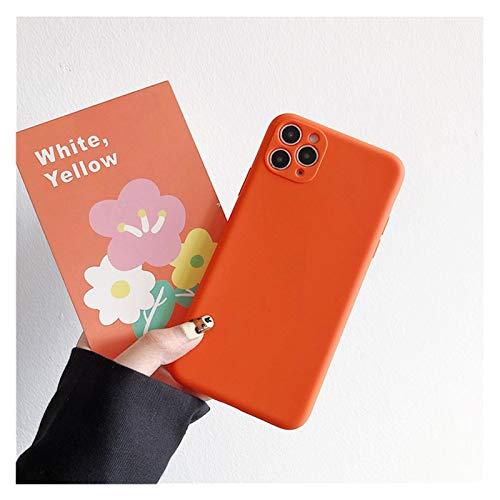 Glqwe Funda telefónica para iPhone 12 Mini Pro MAX 6 7 8 11 S Plus X S XR MAX Moda Cámara Proteger Candy Color Sólido Silicona Suave (Color : Orange, Material : For iPhone XS MAX)