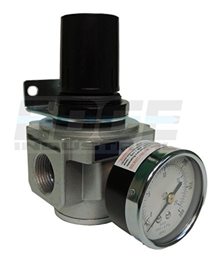 """HEAVY DUTY IN-LINE COMPRESSED AIR PRESSURE REGULATOR FOR AIR COMPRESSOR, 7 TO 215 PSI ADJUSTABLE, HIGH FLOW RATE, WALL BRACKET AND GAUGE INCLUDED (3/4"""" NPT, 140 CFM)"""