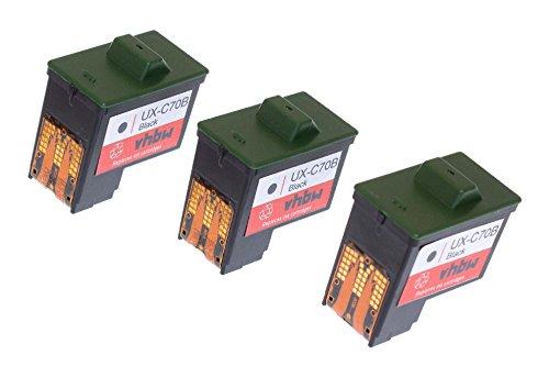 vhbw 3X Cartucho de Tinta para Impresora Negro para Sharp UX-BA55DE, UX-BD80, UX-BD80DE, UX-BD80RA, UX-BD90, UX-BS60 por UX-C70B