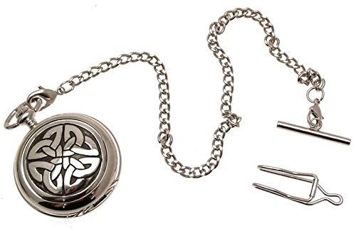 Solid Peltre Fronted Cuarzo Reloj de Bolsillo–4Triag Nudo no diseño de Piedras...
