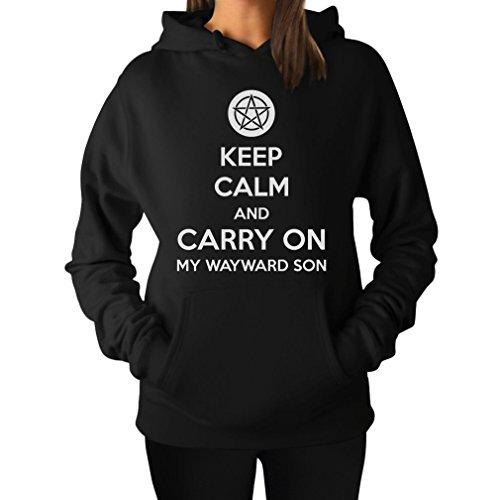 TeeStars - Keep Calm and Carry On My Wayward Son Women Hoodie Small Black