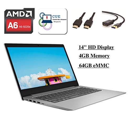 """2020 Lenovo Ideapad 14"""" HD Laptop Computer for Student and Business, AMD A6-9220e, Webcam, HDMI, WiFi, Windows 10 w/+ CUE Accessories (4GB RAM, 64GB eMMC)"""