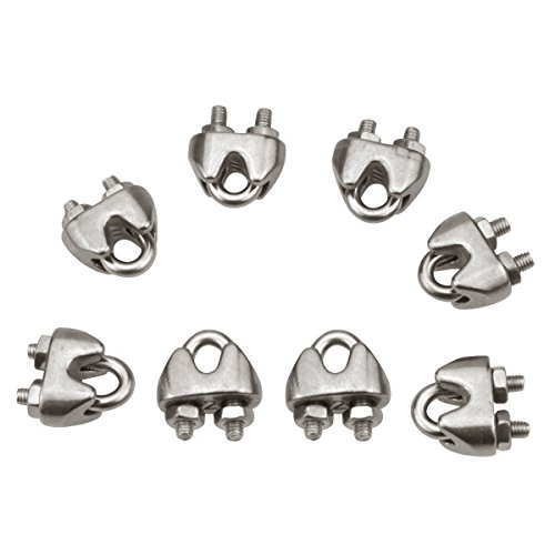 GLE2016 10Pcs Stainless Steel 2mm 1/16 Inch Wire Rope Clip Cable Clamp Fastener Silver Tone
